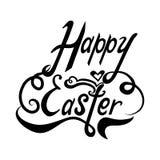 L'invito scritto a mano che segna la frase con lettere Pasqua felice con fiorisce isolato su fondo bianco illustrazione vettoriale