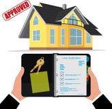 L'ipoteca domestica, presta il concetto approvato, illustrazione di vettore illustrazione di stock