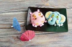 L'ippopotamo, elefante è fatto del gelato Fotografia Stock