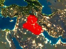 L'Irak en rouge la nuit Photo stock