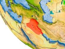 L'Irak sur le globe Images libres de droits