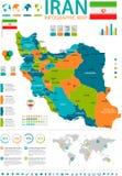 L'Iran - carte et drapeau infographic - illustration détaillée de vecteur illustration stock