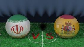 L'Iran contre l'Espagne Coupe du monde 2018 de la FIFA Image 3D originale Photo libre de droits