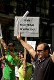 L'Iran, Montreal è con voi segno. Fotografia Stock Libera da Diritti