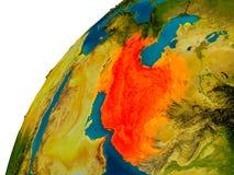 L'Iran sur le globe Image stock