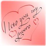 """L'iscrizione """"ti amo il mio Moore """"fatto dalla fonte dell'autore decorata con i cuori ed il rosso royalty illustrazione gratis"""
