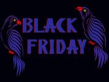 L'iscrizione Black Friday con due pappagalli blu da entrambi i lati royalty illustrazione gratis