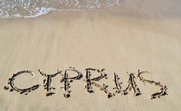 L'iscrizione Cipro sulla sabbia Fotografia Stock