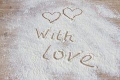 L'iscrizione con amore da farina Immagine Stock Libera da Diritti
