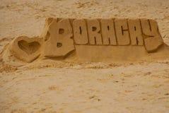 L'iscrizione della sabbia Boracay, Filippine Arte benvenuta della sabbia a Boracay Immagine Stock Libera da Diritti