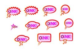 L'iscrizione di desiderio messa icone rosa del fumetto grugnisce Elementi di progettazione di vettore dell'iscrizione Testo svegl Immagine Stock