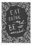L'iscrizione di nozze del manifesto mangia la bevanda ed è sposata Immagine Stock