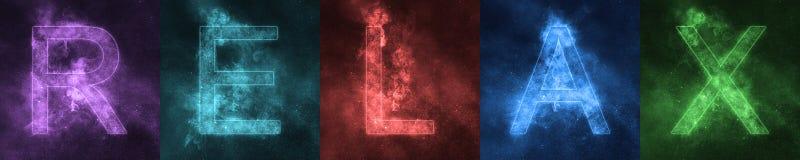 L'iscrizione di parola SI RILASSA le lettere variopinte stilizzate spazio distendasi illustrazione di stock