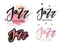 L'iscrizione disegnata a mano cita circa le collezioni di festival di jazz isolate sui precedenti bianchi Calligrafia di vettore  illustrazione di stock