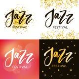 L'iscrizione disegnata a mano cita circa le collezioni di festival di jazz isolate sui precedenti bianchi Calligrafia di vettore  royalty illustrazione gratis
