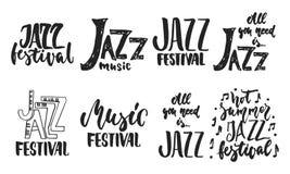 L'iscrizione disegnata a mano cita circa le collezioni di festival di jazz isolate sui precedenti bianchi Vettore dell'inchiostro illustrazione di stock