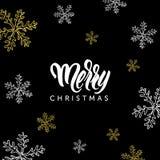L'iscrizione ed i fiocchi di neve di Buon Natale scarabocchiano su fondo nero Fotografia Stock Libera da Diritti
