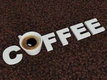 L'iscrizione sui chicchi di caffè del caffè Fotografia Stock Libera da Diritti