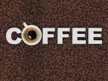 L'iscrizione sui chicchi di caffè del caffè Fotografia Stock