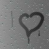 L'iscrizione sul cuore di vetro sudato Priorità bassa trasparente Fotografia Stock