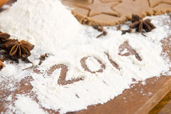 L'iscrizione sulla farina - 2014 Immagine Stock Libera da Diritti