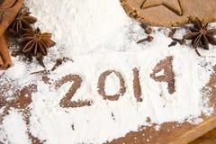 L'iscrizione sulla farina - 2014 Fotografia Stock