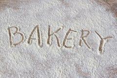 L'iscrizione sulla farina: Forno Fotografia Stock Libera da Diritti