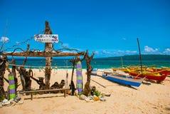 L'iscrizione sulla spiaggia Boracay, Filippine Fotografie Stock