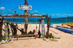 L'iscrizione sulla spiaggia Boracay, Filippine Fotografie Stock Libere da Diritti
