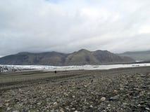 L'Islanda l'antenna 2017 della moraine del ghiacciaio di Skaftafellsjokull Fotografia Stock Libera da Diritti