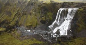 L'Islanda. Area del sud. Lakagigar. Cascata di Fagrifoss. Fotografia Stock Libera da Diritti