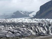 L'Islanda il paesaggio della moraine 2017 del ghiacciaio di Skaftafellsjokull Immagini Stock