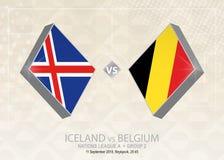 L'Islande contre la Belgique, ligue A, groupe 2 Competiti du football de l'Europe illustration stock
