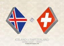 L'Islande contre la Suisse, ligue A, groupe 2 Compe du football de l'Europe illustration stock