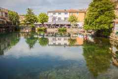 L'Isle sur la Sorgue Provence. House facades in the old town of L'Isle sur la Sorgue in Provence Stock Photos