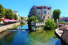 L'Isle sur la Sorgue. A typical southern France village with lot's of small rivers. Situated in the Provence Stock Photography