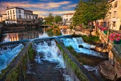 L`Isle-sur-la-Sorgue, Vaucluse,France: landscape at dawn of the. L`Isle-sur-la-Sorgue, Vaucluse,Avignon, France: picturesque landscape at dawn of the town Royalty Free Stock Image