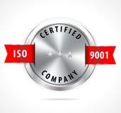 L'iso 9001 ha certificato, distintivo d'argento con il nastro rosso - vector eps10 illustrazione vettoriale