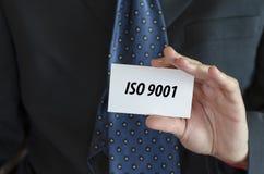 L'iso 9001 manda un sms al concetto Immagini Stock