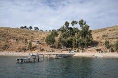 L'isola della luna è situata sul Titicaca Fotografia Stock