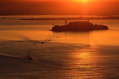 L'isola di Alcatraz vede durante l'alba. Fotografie Stock Libere da Diritti