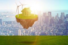 L'isola di galleggiamento di volo nel concetto verde di energia - rappresentazione 3d Fotografia Stock Libera da Diritti