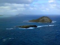 L'isola di Manana e l'isola di Kaohikaipu sono situate sul lato del vento Fotografia Stock Libera da Diritti