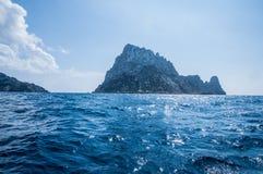 L'isola es Vedra della roccia Immagini Stock