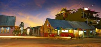 L'isola i Caraibi di Holbox alloggia il tramonto Messico Fotografia Stock