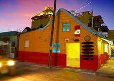 L'isola i Caraibi di Holbox alloggia il tramonto Messico Fotografie Stock