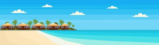 L'isola tropicale con l'hotel del bungalow della villa sulle palme di verde della spiaggia della spiaggia abbellisce l'orizzontal illustrazione di stock