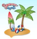 L'isola tropicale con i cocchi, il bordo di spuma, gli anelli di nuotata ed il beach ball vector l'illustrazione, la progettazion Fotografia Stock Libera da Diritti