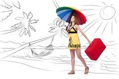 L'isola tropicale di viaggio della giovane donna nel concetto di viaggio Fotografia Stock