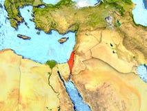 L'Israël sur la carte avec des nuages illustration libre de droits
